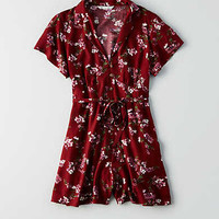 AEO Button Short Sleeve Romper , Burgundy