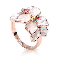 Fashion Plaza Black Friday Christmas Gift Multi-color Cubic Zirconia Flower Ring R79