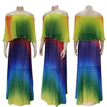 Adogirl Rainbow Pleated Chiffon Maxi Summer Dress Women Ruffled Off Shoulder Long Party Dress wit Lining Casual Bohemian Dresses