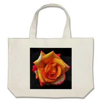 Bright Orange Rose Large Tote Bag