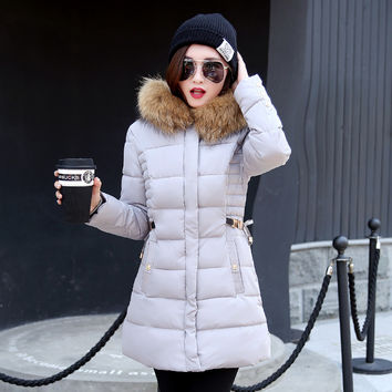Plus Size Hooded Cotton Padded Mid-Long Slim Fit Cheap Down Jacket Coat Parkas Winter Coat Women 2017 New Fashion Thick Outwear