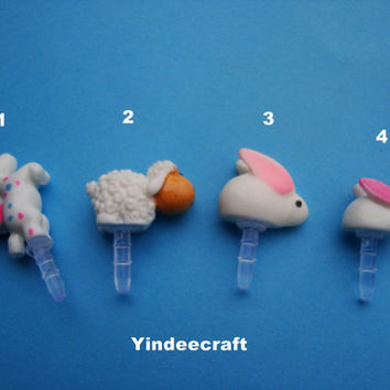 Cute animal Anti Dust Plug  35mm Smart Phone by YindeeCraft