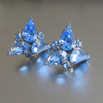 Vintage Weiss Earrings, Pale Blue Rhinestones, Designer Signed, Screw-Back Earrings, Wedding, Prom, Formal