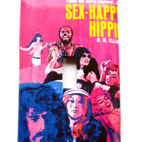 Light Switch Cover - Light Switch Plate Vintage Pulp Cover Sex Happy Hippies