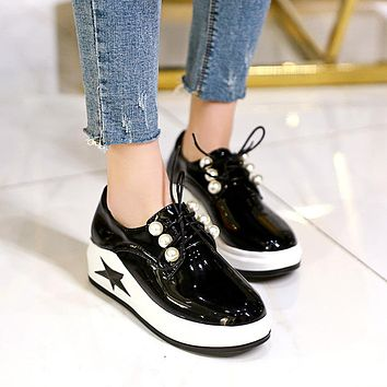 Genuine Leather Pearls Platform Wedges Sneakers Shoes for Women 8285