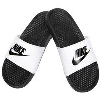 VOND4H Nike Benassi JDI Men's Slide White/ Black Slipper 343880-100 Free Shipping
