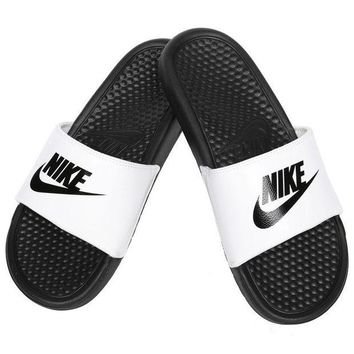 NOVO5 Nike Benassi JDI Men's Slide White/ Black Slipper 343880-100 Free Shipping