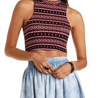 Aztec Print Mock Neck Crop Top by Charlotte Russe