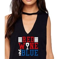 Womens Fourth of July Tank Shirt 4th Red  and Blue Funny in Black