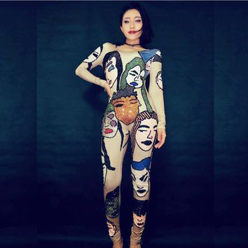 Fashion Sexy Slim Face Pattern Rhinestones Jumpsuit Women Shining Crystals Dance Bodysuit Costumes Stage Party Birthday Rompers