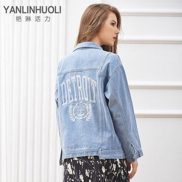 YANLINHUOLI Autumn & Winter Casual Women Denim Jacket Embroidered Frayed Jeans Coat Loose Outwear Chaquetas Mujer