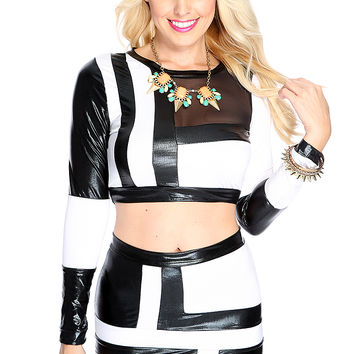 Sexy Two Tone Long Sleeves Faux Leather Black White 2 Piece Dress