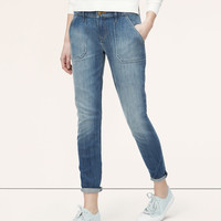 Relaxed Skinny Cropped Utility Jeans in Photon Blue Wash   LOFT