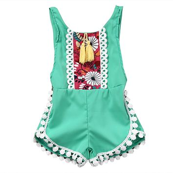 Fashion Baby National Clothes Girls Sleeveless Tassels Romper Backless Jumpsuit Outfits Sunsuit One-Piece Clothes Jumpsuit 0-4T