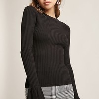 Ribbed Trumpet-Sleeve Sweater