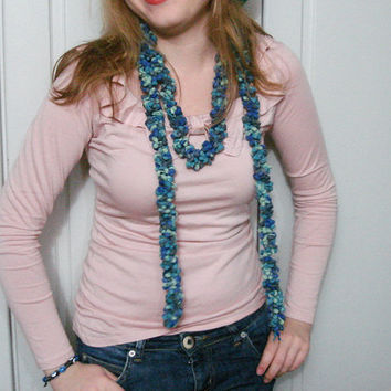 Crochet Blue Green  Lariat Scarf long skiny fluffies, Knitted Trellis yarn necklace