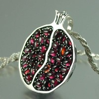 JUICY POMEGRANATE silver garnet pendant by WingedLion on Etsy
