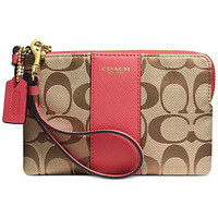 COACH LEGACY L-ZIP SMALL WRISTLET IN SIGNATURE FABRIC