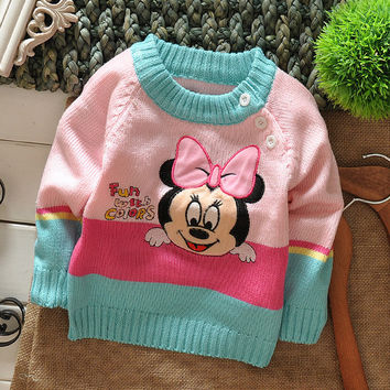Embroidery Cartoon Children's Pullover Kids' Knitting Clothing Babies Autumn Winter Shoulder Button Sweater