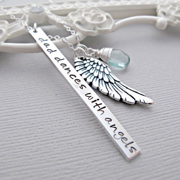 Personalized angel wing Necklace, Custom Birthstone, Remembrance Necklace, Guardian Angel, Sympathy Gift, Loss Of Father, Loss of Mother