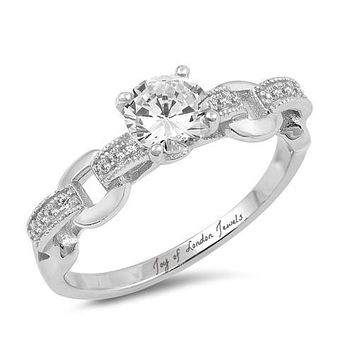 A Perfect 1.1CT Round Cut Russian Lab Diamond Engagement Ring