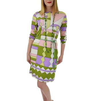 70s Paganne Mod Geometric Border Print Dress-M