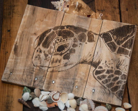 Sea Turtle Art Pallet Wood Art Rustic From Simplypallets