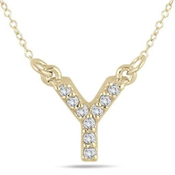 Y Initial Diamond Pendant in 10K Yellow Gold