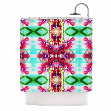 """Dawid Roc """"Tropical Floral Orchids 2"""" Pink Floral Shower Curtain"""