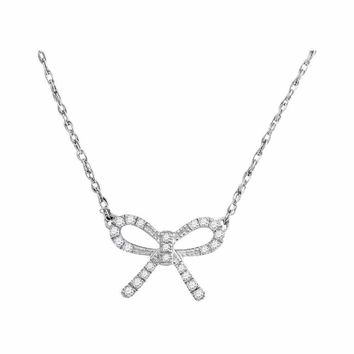 10kt White Gold Women's Round Diamond Knot Bow Pendant Necklace 1-10 Cttw - FREE Shipping (US/CAN)