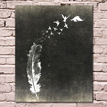60% OFF SALE Feather Print, Inspirational Art, Feather Art Print, Black & White Print, Feather Illustration, Feather Decor, Girls Room Decor