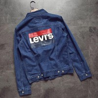 LEVIS Fasion Women Men Letters Print Button Blue Cowboy Coat Jacket