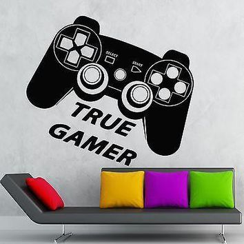 Wall Decal True Gamer Game Room Play Joystick Video Vinyl Stickers Art Unique Gift (ig2606)