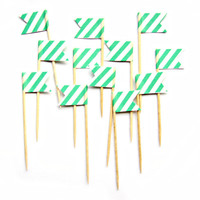 12 Mint Green Stripe Cupcake Toppers - Washi Tape Cupcake Toppers, wedding, engagement, birthday, baby shower, tea party