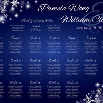 DIY Printable Wedding Seating Chart | Editable MS Word file | Winter White Snowflakes Royal Blue Sparkles