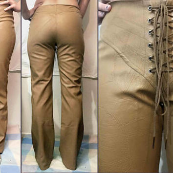 On SALE Vtg. 90s BEWARE! Tan Faux Leather Lace Up Pants, retro unique PVC jeans, corset style lace up tie in front pants, faux snakeskin