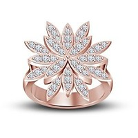 14K Rose Gold Over 925 Silver White CZ Disney Princess Tiana Engagement Ring 5 6