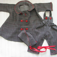 Vintage Doll Clothes 3 Piece Jacket, Overalls, Hat Excellent Condition