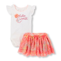Baby Girls Ruffle Sleeve 'Hello World' 3D Flower Bodysuit And Floral Mesh Skirt Set