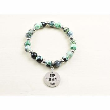 Genuine Agate Inspirational Bracelet - Green - This too shall pass