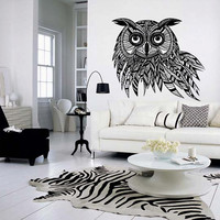 Wall decal vinyl art decor owl  bird  night  feather  animal  wings  flight apartment (m1089)