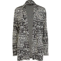 Black tribal print boyfriend blazer