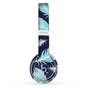 The Blue Aztec Feathers and Stars Skin Set for the Beats by Dre Solo 2 Wireless Headphones