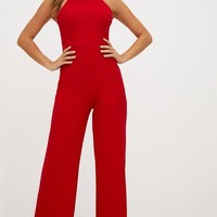 Red Crepe High Neck Jumpsuit