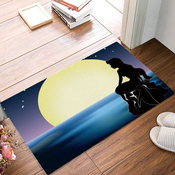 Autumn Fall welcome door mat doormat Moon Night Mermaid s Kitchen Floor Bath Entrance Rug Mat Absorbent Indoor Bathroom Decor s AT_76_7