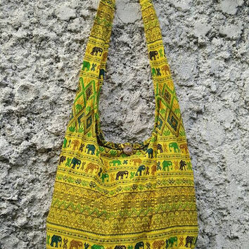 Cross body bag Shoulder Bags Boho Sling Hippies Ikat Aztec Gypsy Tribal Pattern elephant Style Fashion Chic Hobo Diaper Tote Bohemian Yellow