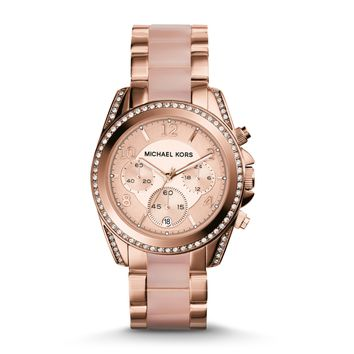 Michael Kors Blair Blush and Rose Gold-Tone Stainless Steel Ladies Chronograph Watch