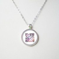 Customizable QR Code Necklace -Encode & share your words, link, message, image- QR Code series