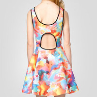Watercolor Cut Out Back Dress
