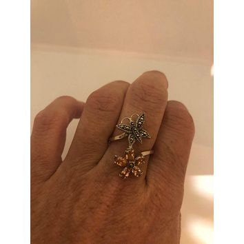 Vintage Handmade Genuine Swiss Marcasite Setting 925 Sterling Silver Gothic Amber CZ Ring